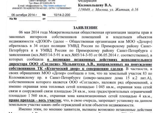Заявление Дозора в ГУ МВД по СПб