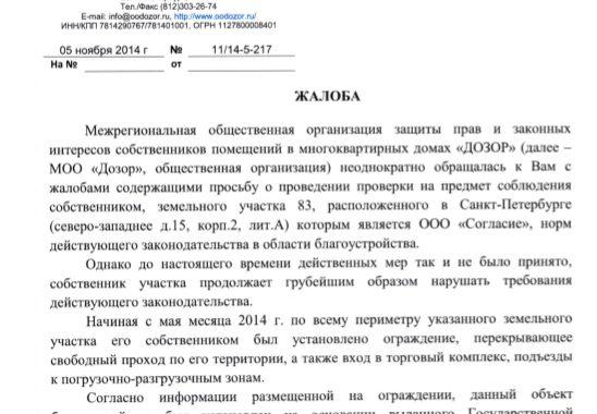 Жалобы Дозора в органы власти города и области